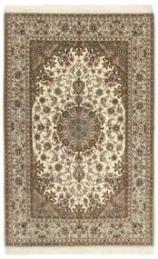 Isfahan Zijden Pool Vloerkleed 130X203 Echt Oosters Handgeknoopt Lichtbruin/Beige/Bruin (Wol/Zijde, Perzië/Iran)