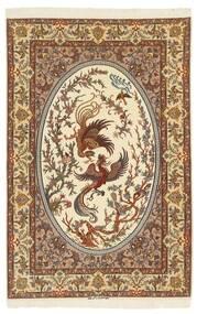Isfahan Zijden Pool Vloerkleed 132X200 Echt Oosters Handgeknoopt Bruin/Beige (Wol/Zijde, Perzië/Iran)