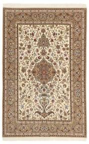 Isfahan Zijden Pool Vloerkleed 130X205 Echt Oosters Handgeknoopt Bruin/Beige/Lichtbruin (Wol/Zijde, Perzië/Iran)