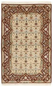 Isfahan Zijden Pool Vloerkleed 130X208 Echt Oosters Handgeknoopt Beige/Bruin (Wol/Zijde, Perzië/Iran)