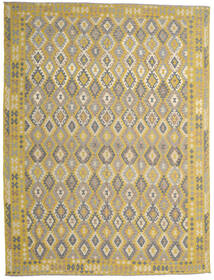 Kelim Afghan Old Style Vloerkleed 302X404 Echt Oosters Handgeweven Lichtgrijs/Geel Groot (Wol, Afghanistan)