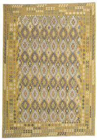 Kelim Afghan Old Style Vloerkleed 253X365 Echt Oosters Handgeweven Lichtgrijs/Olijfgroen Groot (Wol, Afghanistan)