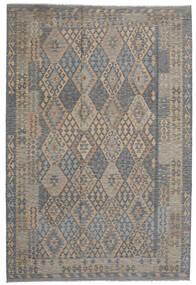 Kelim Afghan Old Style Vloerkleed 203X306 Echt Oosters Handgeweven Lichtgrijs/Donkergrijs (Wol, Afghanistan)