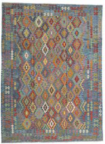 Kelim Afghan Old Style Vloerkleed 256X351 Echt Oosters Handgeweven Lichtgrijs/Lichtbruin Groot (Wol, Afghanistan)