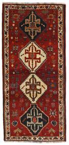 Ghashghai Vloerkleed 87X189 Echt Oosters Handgeknoopt Tapijtloper Donkerrood/Zwart (Wol, Perzië/Iran)