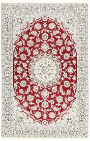 Nain 9La Vloerkleed 115X181 Echt Oosters Handgeknoopt Lichtgrijs/Beige/Donkerrood (Wol/Zijde, Perzië/Iran)
