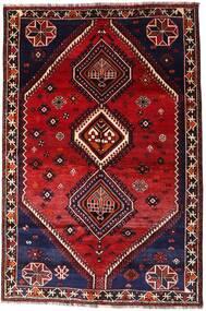 Shiraz Vloerkleed 160X242 Echt Oosters Handgeknoopt Donkerrood (Wol, Perzië/Iran)