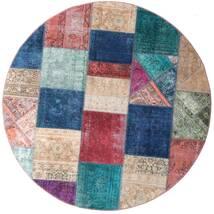 Patchwork - Persien/Iran Vloerkleed Ø 200 Echt Modern Handgeknoopt Rond Donkerblauw/Purper (Wol, Perzië/Iran)