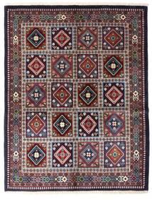 Yalameh Vloerkleed 152X196 Echt Oosters Handgeknoopt Zwart/Donkerbruin (Wol, Perzië/Iran)