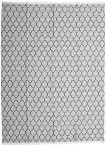 Bamboe Zijde Kelim Vloerkleed 300X400 Echt Modern Handgeweven Lichtgrijs/Wit/Creme Groot (Wol/Bamboezijde, India)