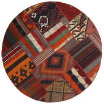 Tekkeh Kelim Vloerkleed Ø 150 Echt Modern Handgeweven Rond Donkerrood/Zwart (Wol, Perzië/Iran)