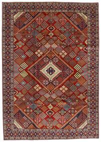 Hamadan Vloerkleed 215X308 Echt Oosters Handgeknoopt Donkerrood/Donkerbruin (Wol, Perzië/Iran)