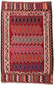 Kelim Vintage Vloerkleed 147X234 Echt Oosters Handgeweven Donkerrood/Wit/Creme (Wol, Perzië/Iran)