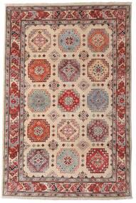 Kazak Vloerkleed 118X179 Echt Oosters Handgeknoopt Donkerbruin/Lichtgrijs (Wol, Afghanistan)