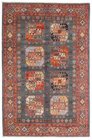 Kazak Vloerkleed 120X181 Echt Oosters Handgeknoopt Donkergrijs/Donkerrood (Wol, Afghanistan)
