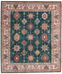 Kazak Vloerkleed 250X294 Echt Oosters Handgeknoopt Donker Turkoois/Bruin Groot (Wol, Afghanistan)