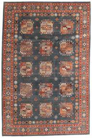 Kazak Vloerkleed 195X296 Echt Oosters Handgeknoopt Donkergrijs/Donkerrood (Wol, Afghanistan)