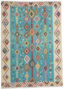Kelim Afghan Old Style Vloerkleed 203X283 Echt Oosters Handgeweven Turquoise Blauw/Donkerbeige (Wol, Afghanistan)