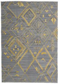 Kelim Ariana Vloerkleed 200X284 Echt Modern Handgeweven Lichtblauw/Donkergrijs/Lichtgrijs (Wol, Afghanistan)