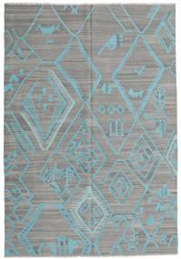 Kelim Moderne Vloerkleed 203X292 Echt Modern Handgeweven Donkergrijs/Lichtgrijs/Turquoise Blauw (Wol, Afghanistan)