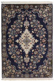Isfahan Zijden Pool Vloerkleed 112X160 Echt Oosters Handgeknoopt Donkerpaars/Lichtgrijs/Donkergrijs (Wol/Zijde, Perzië/Iran)
