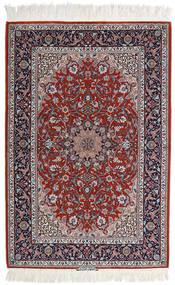 Isfahan Zijden Pool Vloerkleed 110X165 Echt Oosters Handgeknoopt Lichtgrijs/Donkerrood (Wol/Zijde, Perzië/Iran)