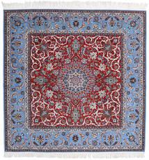 Isfahan Zijden Pool Vloerkleed 209X210 Echt Oosters Handgeknoopt Vierkant Licht Paars/Donkerrood (Wol/Zijde, Perzië/Iran)
