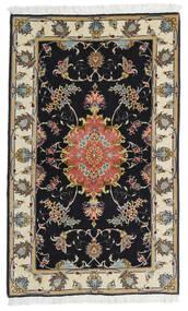Tabriz 60 Raj Zijden Pool Vloerkleed 73X120 Echt Oosters Handgeknoopt Zwart/Donkerbeige (Wol/Zijde, Perzië/Iran)