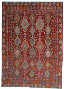 Kelim Afghan Old Style Vloerkleed 208X280 Echt Oosters Handgeweven Donkerrood/Lichtgrijs (Wol, Afghanistan)