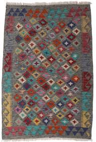 Kelim Afghan Old Style Vloerkleed 82X120 Echt Oosters Handgeweven Donkergrijs/Donkerrood (Wol, Afghanistan)