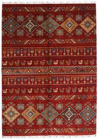 Shabargan Vloerkleed 172X237 Echt Modern Handgeknoopt Rood/Donkerrood/Roestkleur (Wol, Afghanistan)