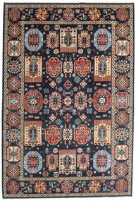 Kazak Vloerkleed 199X293 Echt Oosters Handgeknoopt Donkerblauw/Donkergrijs (Wol, Afghanistan)