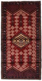 Hamadan Vloerkleed 110X212 Echt Oosters Handgeknoopt Donkerrood/Donkerbruin (Wol, Perzië/Iran)