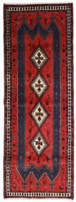 Afshar Vloerkleed 91X255 Echt Oosters Handgeknoopt Tapijtloper Zwart/Donkerrood (Wol, Perzië/Iran)