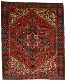 Heriz Vloerkleed 314X386 Echt Oosters Handgeknoopt Donkerrood/Donkerbruin Groot (Wol, Perzië/Iran)