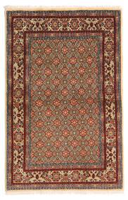 Moud Vloerkleed 97X150 Echt Oosters Handgeknoopt Donkerbruin/Lichtbruin (Wol/Zijde, Perzië/Iran)