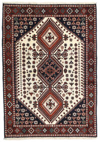 Yalameh Vloerkleed 108X150 Echt Oosters Handgeknoopt Donkerrood/Beige (Wol, Perzië/Iran)