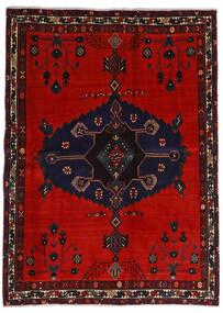 Afshar Vloerkleed 164X225 Echt Oosters Handgeknoopt Zwart/Roestkleur/Donkerrood (Wol, Perzië/Iran)