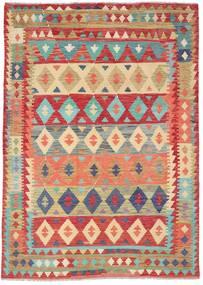 Kelim Afghan Old Style Vloerkleed 209X295 Echt Oosters Handgeweven Roestkleur/Donkerbeige (Wol, Afghanistan)