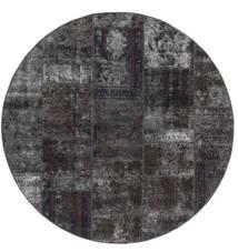 Patchwork - Persien/Iran Vloerkleed Ø 200 Echt Modern Handgeknoopt Rond Zwart/Bruin (Wol, Perzië/Iran)