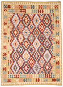 Kelim Afghan Old Style Vloerkleed 212X287 Echt Oosters Handgeweven Donkerbeige/Donkerrood (Wol, Afghanistan)