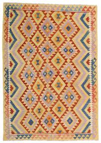 Kelim Afghan Old Style Vloerkleed 176X252 Echt Oosters Handgeweven Donkerbeige/Lichtroze (Wol, Afghanistan)