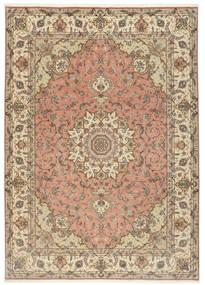 Tabriz 50 Raj Vloerkleed 250X348 Echt Oosters Handgeknoopt Lichtbruin/Beige Groot (Wol/Zijde, Perzië/Iran)