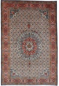 Moud Vloerkleed 262X364 Echt Oosters Handgeknoopt Donkerbruin/Donkerrood Groot (Wol/Zijde, Perzië/Iran)