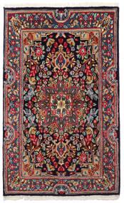Kerman Vloerkleed 90X149 Echt Oosters Handgeknoopt Donkergrijs/Donkerblauw (Wol, Perzië/Iran)
