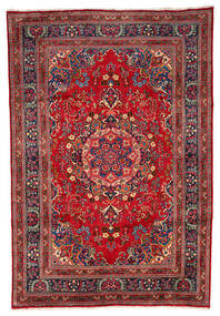 Mashad Vloerkleed 199X297 Echt Oosters Handgeknoopt Donkerrood/Donkerbruin (Wol, Perzië/Iran)