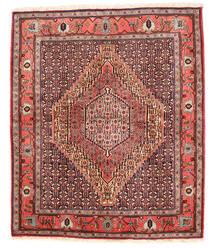 Senneh Vloerkleed 130X155 Echt Oosters Handgeknoopt Donkerrood/Donkerbruin (Wol, Perzië/Iran)