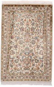 Kashmir Puur Zijde Vloerkleed 64X97 Echt Oosters Handgeknoopt Donkerbruin/Beige (Zijde, India)