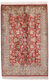Kashmir Puur Zijde Vloerkleed 65X99 Echt Oosters Handgeknoopt Donkerrood/Lichtgrijs (Zijde, India)
