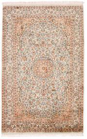Kashmir Puur Zijde Vloerkleed 98X152 Echt Oosters Handgeknoopt Beige/Donkerbruin (Zijde, India)